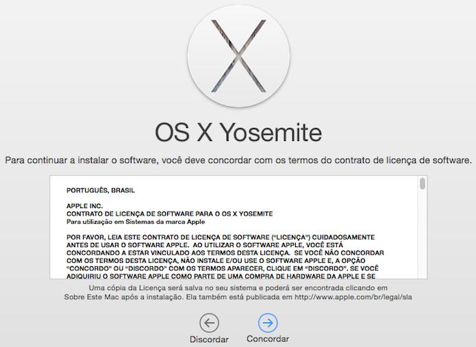 Concorde com os termos da licença de software da Apple (Foto: Reprodução/Helito Bijora)