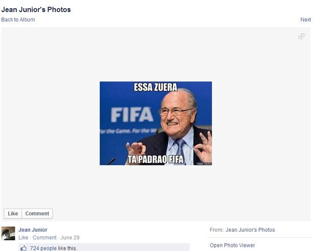 Obrigado, Joseph Blatter, obrigado... (Foto: Reprodução/Facebook)