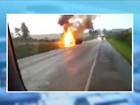 Cabine de caminhão pega fogo e motorista sai ileso no Oeste de SC