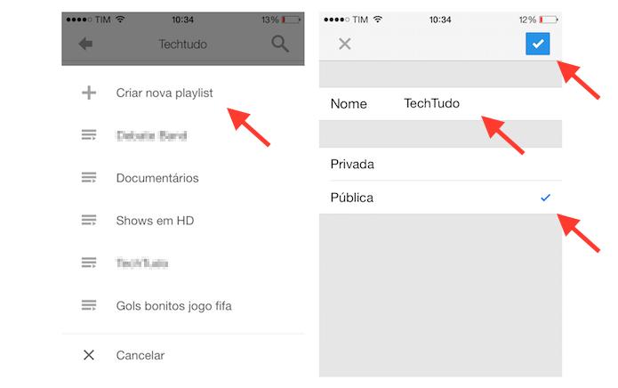 Criando uma nova playlist no YouTube para iPhone (Foto: Reprodução/Marvin Costa)