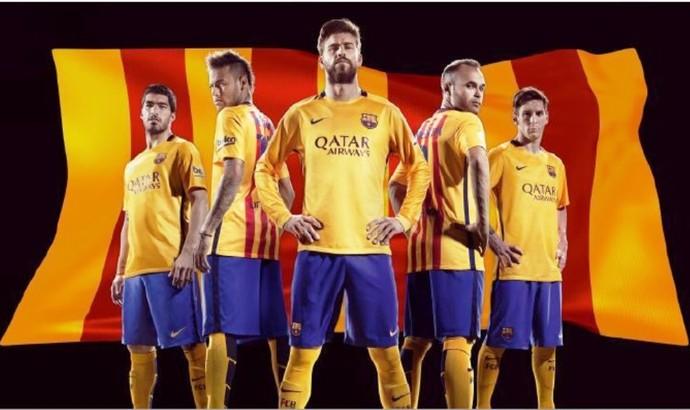 Segundo uniforme do Barcelona 2015/2016 (Foto: Divulgação/Barcelona)