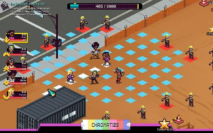 Os heróis de Chroma Squad encaram os inimigos em campo (Foto: Reprodução/Felipe Vinha)