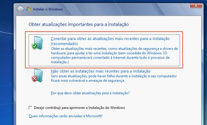 Baixando atualizações antes de instalar o Windows 7 (Foto: Reprodução/Edivaldo Brito)