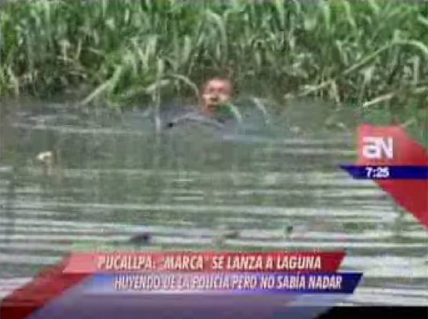 Na fuga, ladrão pulou em lagoa, mas não sabia nadar (Foto: Reprodução)