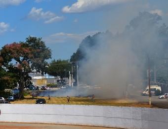 São José e Guarani - Série A2 - incêndio (Foto: Danilo Sardinha/GloboEsporte.com)