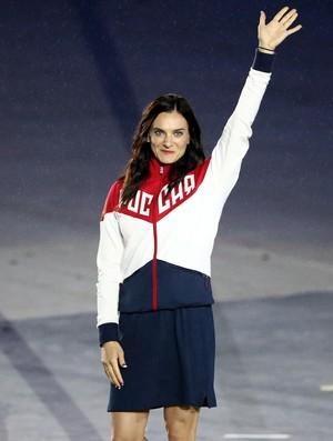 Yelena Isinbayeva na cerimônia de encerramento Rio 2016 (Foto: Patrick Smith / Getty Images~)
