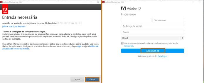 Faça o login com o Adobe ID ou crie uma nova conta (Foto: Reprodução/Barbara Mannara)