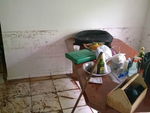 Marca em parede registrou a altura que a água ficou na casa de Silvio (Foto: Pedro Henrique Bignardi Pessôa/Arquivo Pessoal)