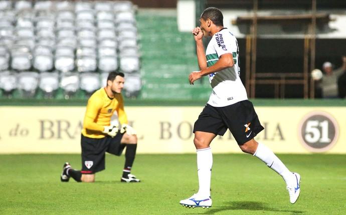 Helder comemora gol do Coritiba contra o São Paulo (Foto: Joka Madruga / Futura Press)