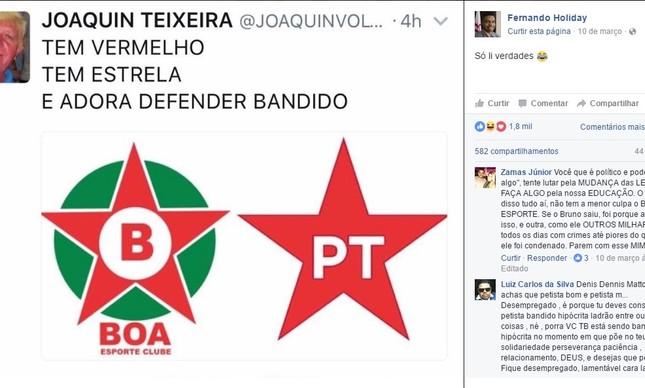 Postagem compartilhada pelo vereador compara o Boa Esporte ao PT