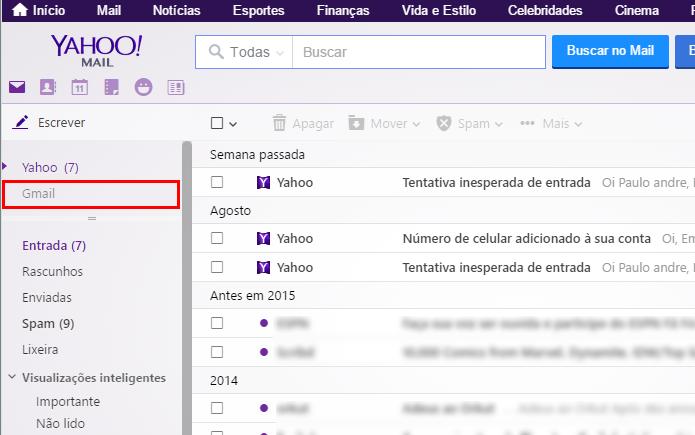 Acesse o Gmail na barra lateral do Yahoo Mail (Foto: Reprodução/Paulo Alves)