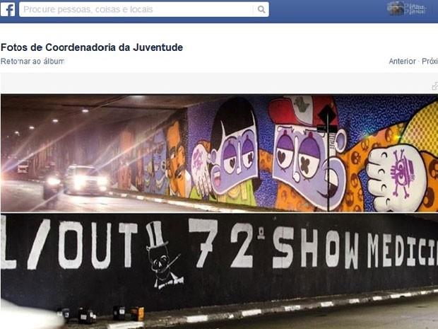 Grafite é apagado para dar lugar a anúncio de festa de Medicina da USP (Foto: Coordenação de Políticas Para a Juventude/Reprodução/Facebook)