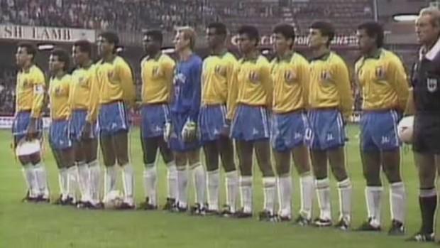Jogadores da seleção brasileira que enfrentaram País de Gales, em 1991 (Foto: Reprodução SporTV)