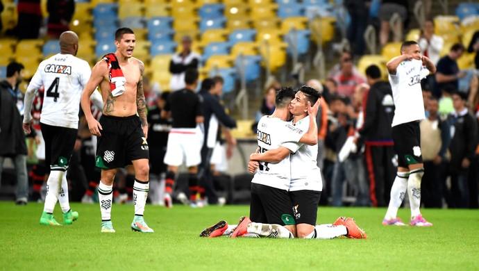 Comemoração do Figueirense contra o Flamengo (Foto: André Durão)