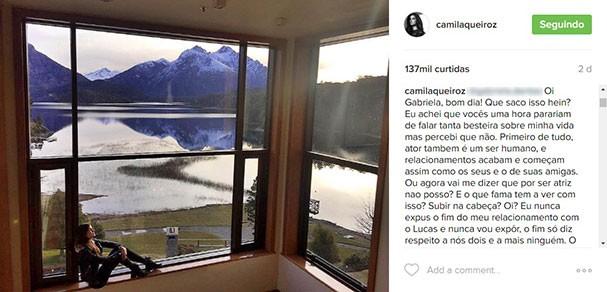 Camila Queiroz responde um comentário (Foto:  Reprodução/Instagram)