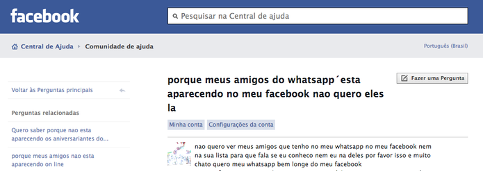 Versão cache de pergunta no Fórum do Facebook sobre contatos do WhatsApp (Foto: Reprodução/Google)