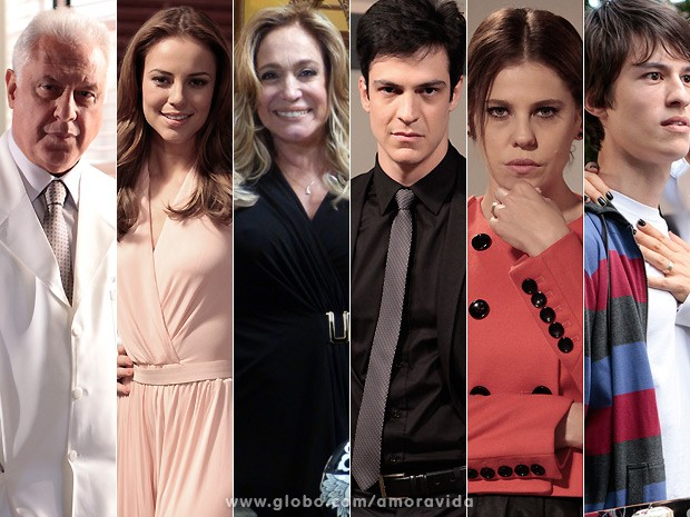A Famlia Khoury: Csar, Paloma, Pilar, Flix, Edith e Jonathan (Foto: Amor  Vida / TV Globo)