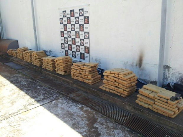 Droga apreendida em Ilha Solteira  (Foto: Polícia Militar)