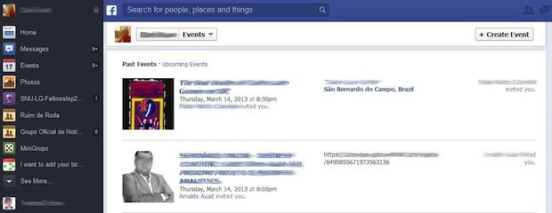 Novo formato do Facebook lista eventos antigos dos quais o usuário participou. (Foto: Reprodução)