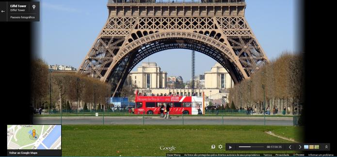 Torre Eiffel, em Paris, no Street View do Google Maps (Foto: Reprodução/Paulo Finotti)