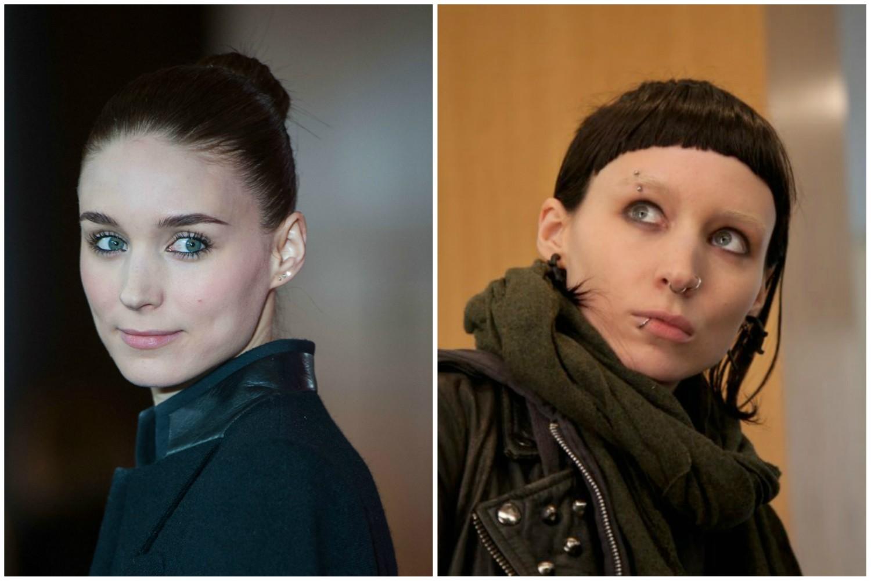 Rooney Mara como Lisbeth Salander, protagonista de 'Millennium: Os Homens que Não Amavam as Mulheres' (2011). (Foto: Getty Images e Reprodução)