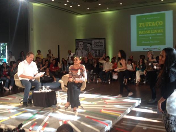 Eduardo Campos durante agenda de campanha com jovens em São Paulo (Foto: Rosanne D'Agostino / G1)