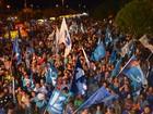 Militantes comemoram vitória de Waldez (Dyepeson Martins/G1)