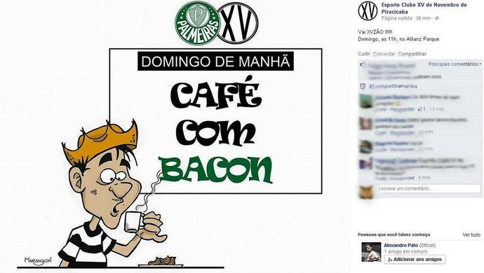 """XV apimenta jogo com Palmeiras em charge na internet: """"Café com bacon"""""""