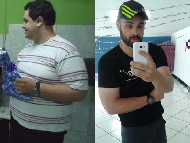 Mudança de hábitos começou quando Hélton tinha 27 anos: em cinco anos, ele foi de 150 kg para 80 kg (Foto: Hélton Goulart/Arquivo pessal)