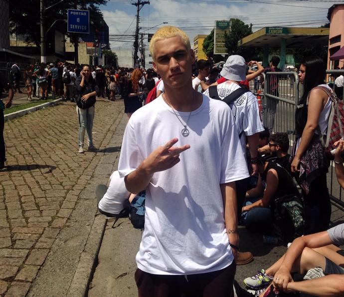 Bernardo Dutra chega ao Lollapalooza para assistir ao Eminem (Foto: Fernanda Frozza/Gshow)