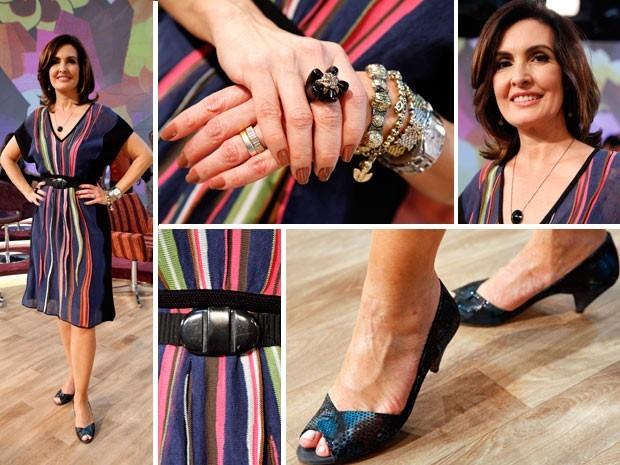 Fátima Bernardes usa vestido azul marinho na estreia do Encontro (Foto: Gshow)