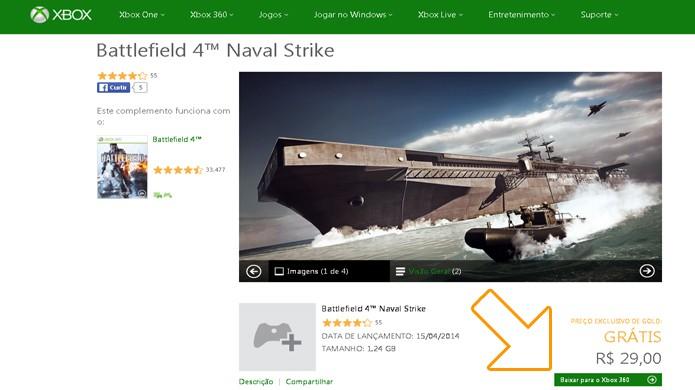 Battlefield 4: Naval Strike está gratuito no Xbox 360, mas não no Xbox One (Foto: Reprodução/Rafael Monteiro)