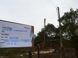 Flagrada perfuração de poço tubular com uso de ligação clandestina (Foto: Divulgação/Eletrobras)