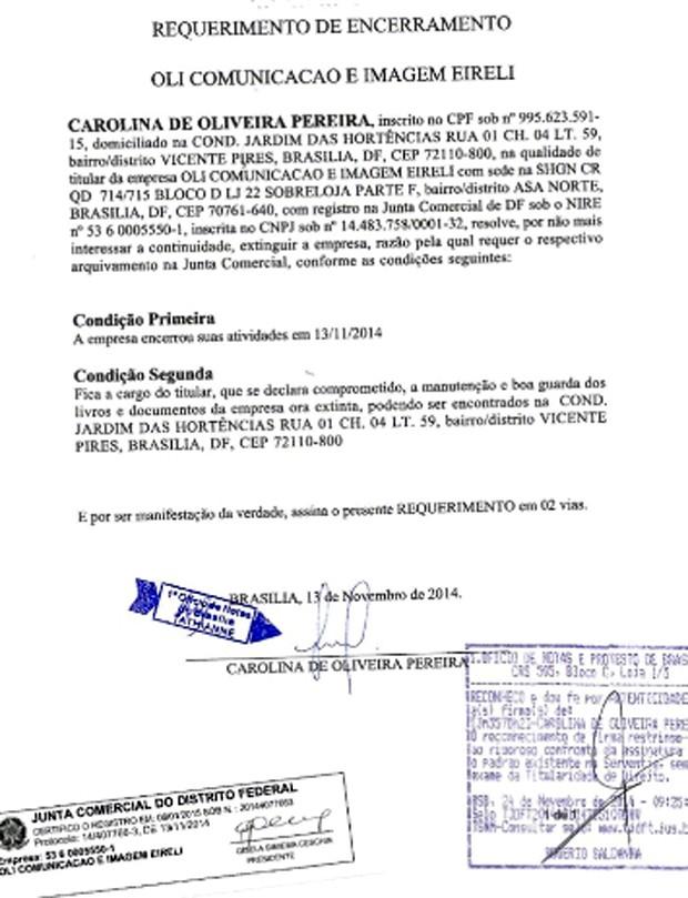 Documento de encerramento da empresa de Carolina de Oliveira, apresentado pela defesa da primeira-dama de Minas Gerais (Foto: Divulgação/Carolina de Oliveira)