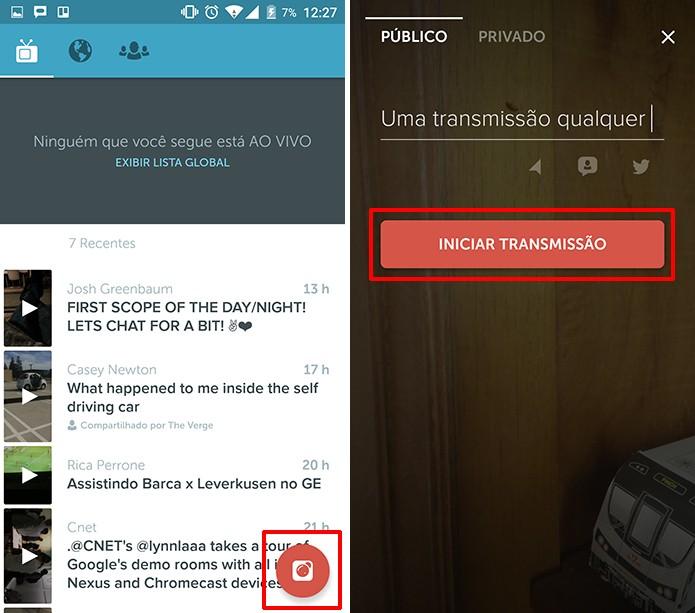 Periscope dá diversas opções para que usuário configure sua transmissão (Foto: Reprodução/Elson de Souza)
