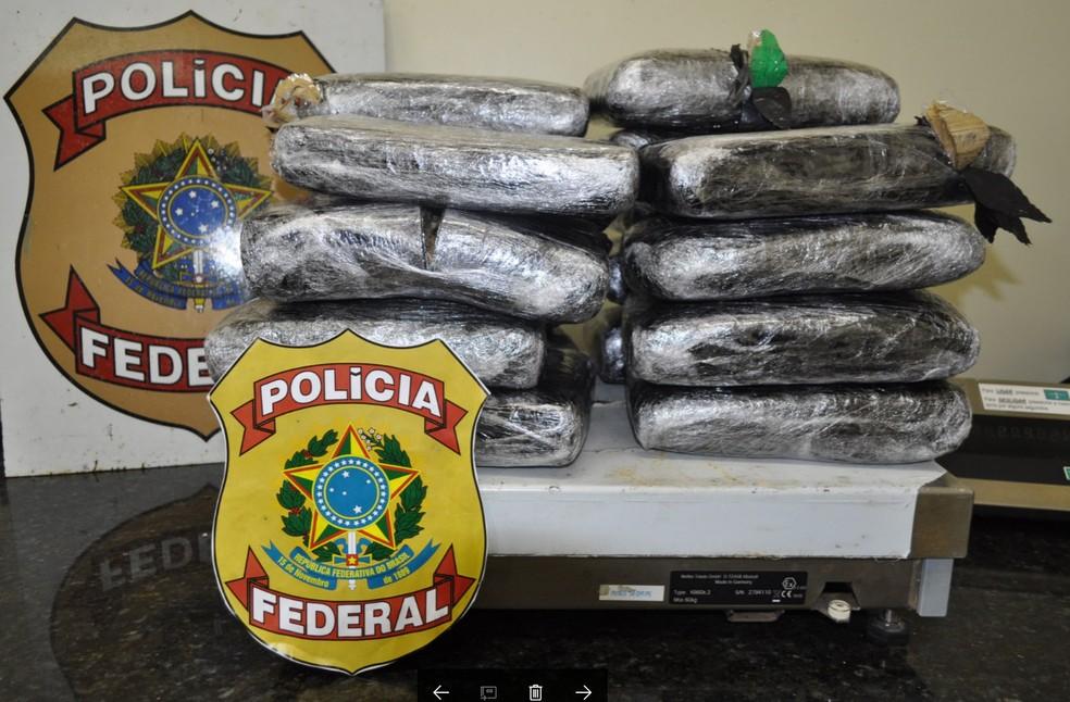 Cerca de 21 quilos de skank estavam escondidos dentro de duas malas no Aeroporto do Recife (Foto: Divulgação/Polícia Federal)