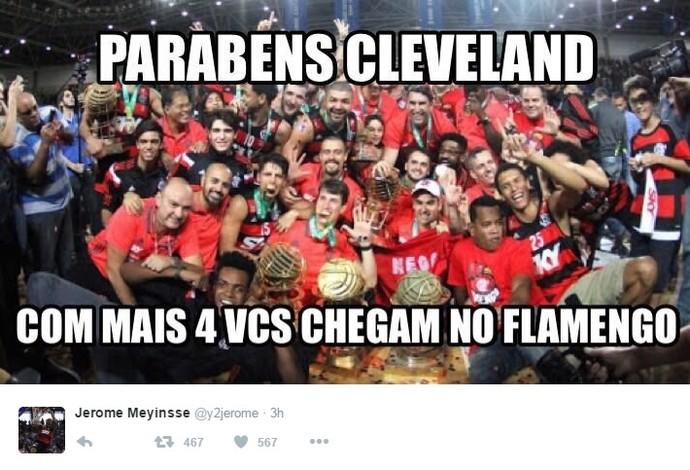 O pivô americano Jerome Meyinsse, do Flamengo, brincou com os Cavs no Twitter (Foto: Reprodução/Twitter)