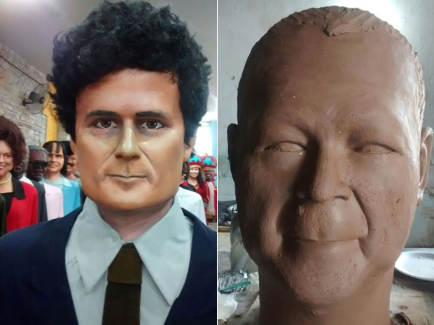 Boneco de Sérgio Moro já está pronto, só falta cortar o cabelo e ajustar tom da pela; versão gigante de Ishii está em produção (Foto: Leandro Castro/Divulgação)