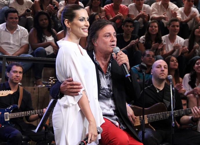 Fábio Jr. e Cleo Pires se encontram na gravação do Altas Horas (Foto: Marcos Mazini/Gshow)