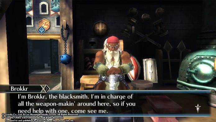 O ferreiro Brokkr poderá fortalecer suas armas desde que você possua materiais e dinheiro (Foto: reprodução)