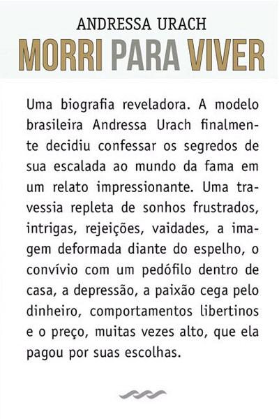 Orelha do livro de Andressa Urach (Foto: Reprodução)