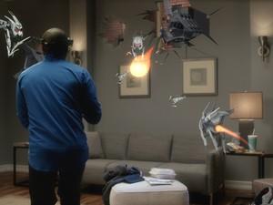 Imagem conceitual da experiência 'X-Ray' com as HoloLens. Com acessório, jogador consegue se sentir no meio de um campo de batalha, mas no seu quarto (Foto: Divulgação/Microsoft)