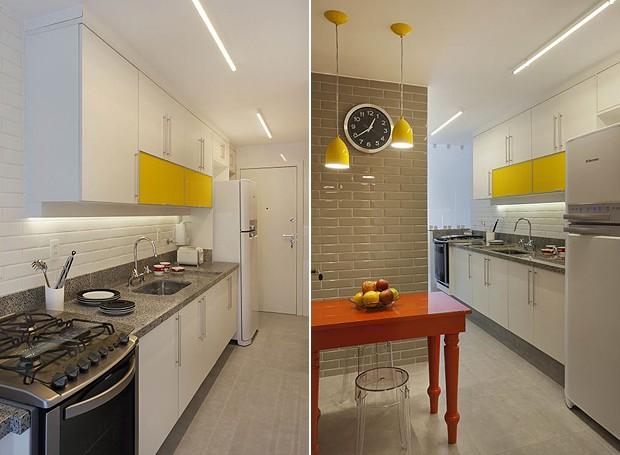 A cozinha ficou bem clara com pisos e revestimentos da Portobello. Com alguns toques de cor, o espaço ficou mais alegre! Os armários são da Celmar Mobiliário Planejado. Metais e louças Deca (Foto: Divulgação)