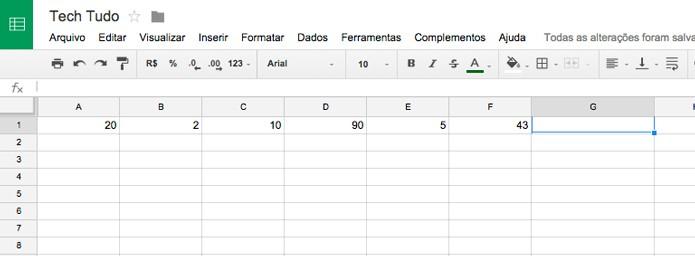 Crie uma planilha com dados separados por colunas (Foto: Reprodução/André Sugai)