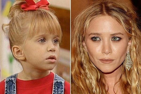 Mary-Kate Olsen, hoje com 28 anos, interpretava a pequena Michelle de 'Três É Demais' (1987–1995)... (Foto: Divulgação e Getty Images)