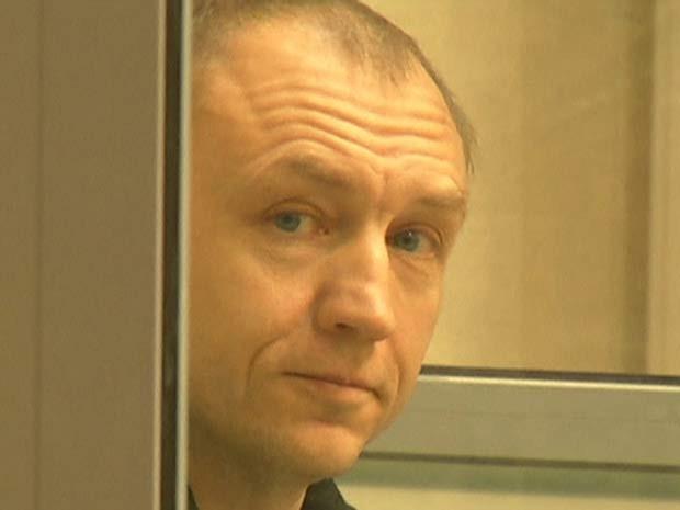 O estoniano Eston Kohver é visto durante audiência em tribunal em Pskov, na Rússia (Foto: REUTERS/Reuters TV )