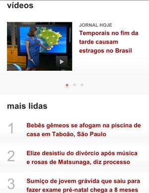 Celulares que suportarem a exibição de vídeos poderão ver todo o conteúdo Globo.  (Foto: Reprodução)