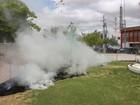 Gramado de praça pega fogo durante entrega de ônibus em Petrolina