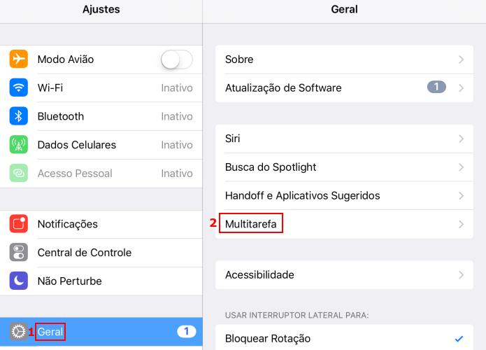 Acessando as opções de multitarefa do iPad (Foto: Reprodução/Edivaldo Brito)