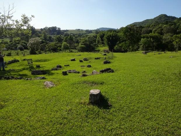 Árvores fossilizadas formam jardim de pedra em Mata, município gaúcho (Foto: Maria Maurente/RBS TV)
